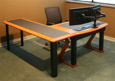 two screen computer desk dual monitor arm caretta workspace