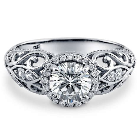 cz deco engagement rings berricle sterling silver cz halo milgrain deco