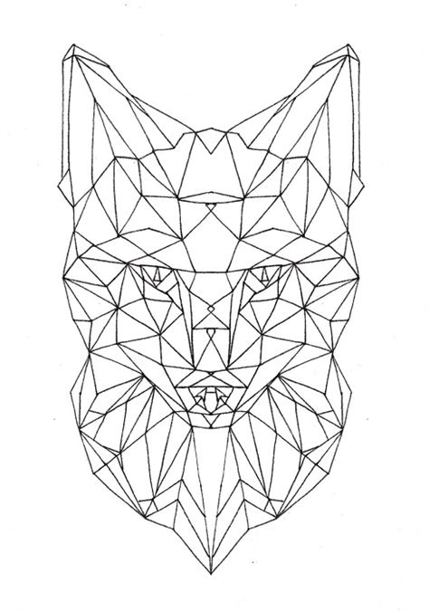 geometric wolf coloring pages geometric fox face unfinished geometric design