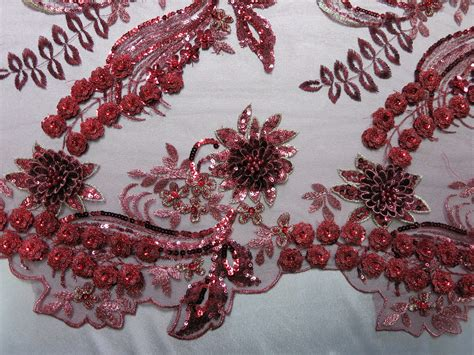 beaded fabric burgundy 3d beaded embroidered lace sequin mesh fabric