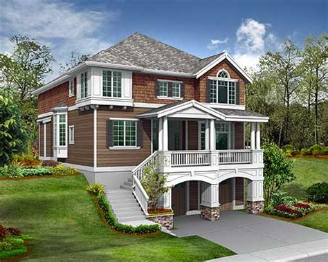 narrow sloping lot house plans single level living plan 2357jd for the front sloping lot plan plan