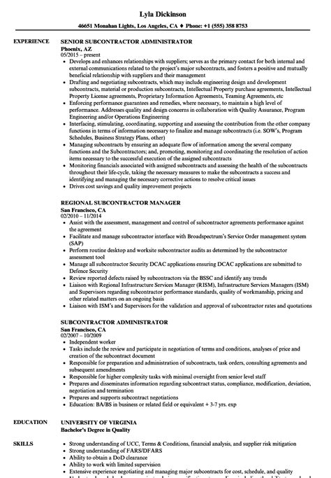 subcontract administrator resume resume ideas