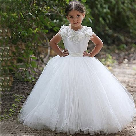 gold lace appliques long sleeves white tulle ball gowns wedding dress white elegant long tulle flower girl dresses scoop cap