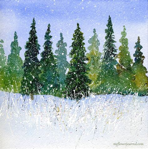 watercolor tutorial winter winter watercolor with splattered acrylic paint my