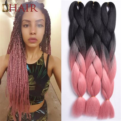 blonde pink black braids popular silky straight kanekalon braiding extension hair