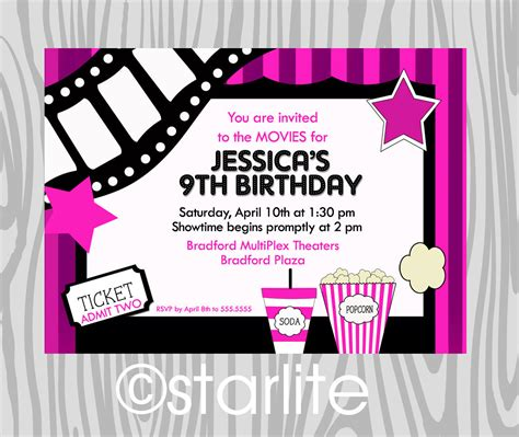 free printable birthday invitations 9 years old movies movie theater birthday party invitation girl by