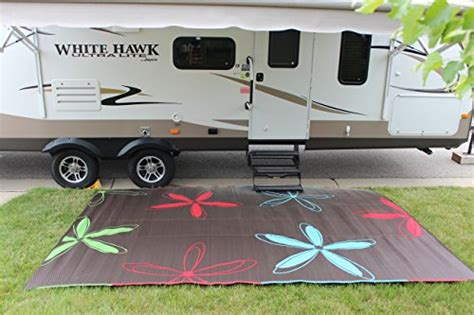 rv patio rug rv mat patio rug colorful floral design 9x12