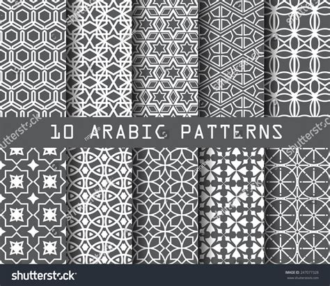 texture pattern swatches 10 different arabic patterns pattern swatches stock vector