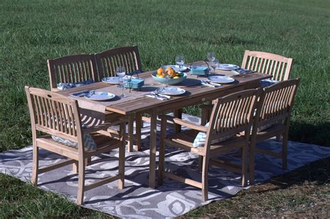 teak wood patio furniture set pebble living 7 teak wood patio dining set