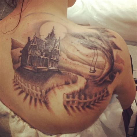haunted mansion tattoo haunted house back stunning ideas
