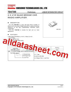 Tda 7388 By Elektronik Parts tda7388 데이터시트 pdf unisonic technologies