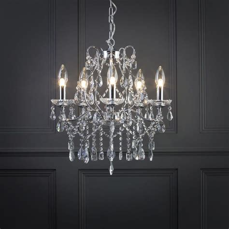 Chandelier Bathroom Lighting Marquis By Waterford Annalee Large Led 5 Light Bathroom Chandelier Chrome From Litecraft
