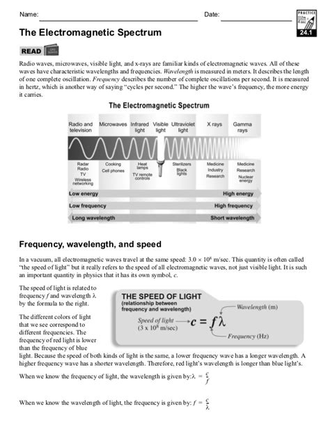 Electromagnetic Spectrum Worksheet Answers by Waves Electromagnetic Spectrum Worksheet Lesupercoin