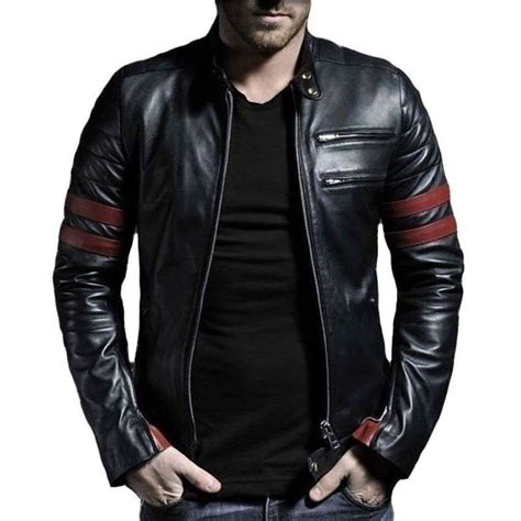 mens leather jacket s stripe leather jacket genuine leather ebay