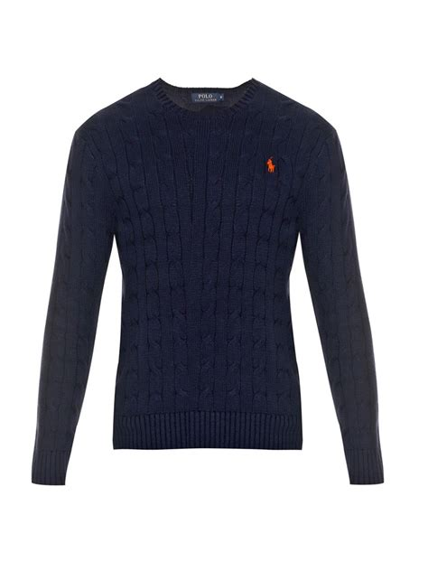 polo ralph cable knit jumper lyst polo ralph cable knit cotton sweater in blue