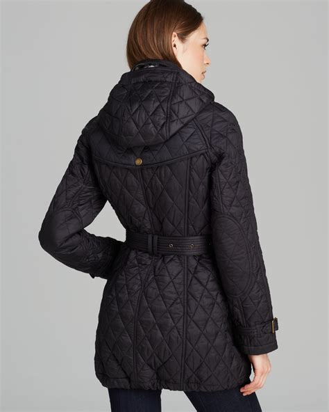 Quilted Coat lyst burberry finsbridge quilted coat in black