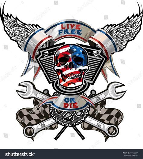 Find Where Live For Free Live Free Or Die Biker Skull Design Stock Vector 293178677