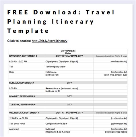 printable itinerary planner free download travel planning itinerary template