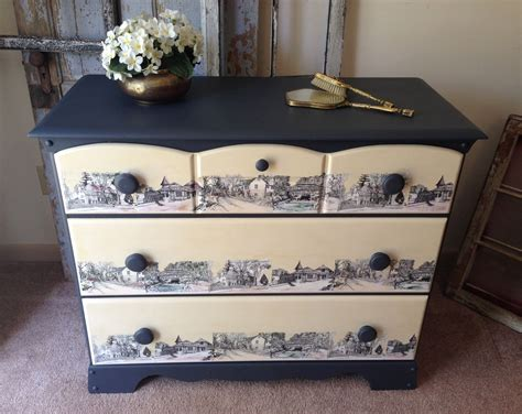 Decoupage Dresser - made vintage painted decoupaged 3 drawer dresser by