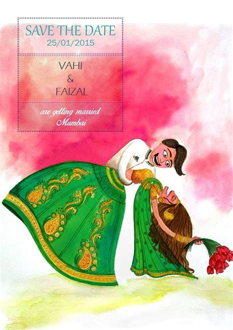 Save The Date Wedding Invite Indian Bride And Groom Illustration Water Color On Paper On Save The Date Indian Wedding Templates Free