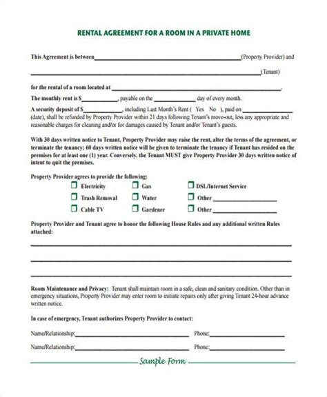 House Rent Contract Template by 8 Rent Contract Form Sles Free Sle Exle