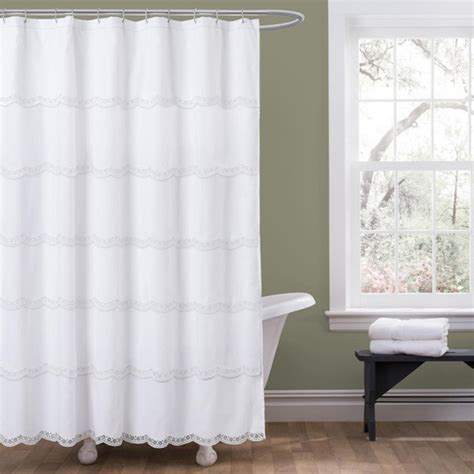Modern Bathroom Shower Curtains Lush Decor Dorein White Shower Curtain Contemporary Shower Curtains By Overstock