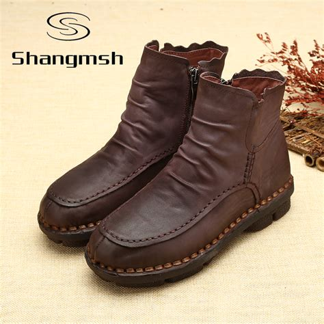 Leather Shoes Handmade - aliexpress buy s boots autumn leather handmade