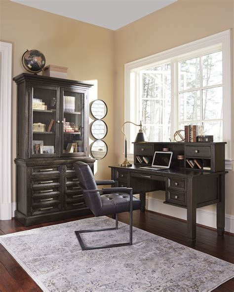townser home office desk with hutch townser grayish brown home office desk with hutch from
