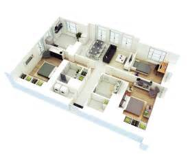 Three Bedroom Floor Plan by 25 More 3 Bedroom 3d Floor Plans
