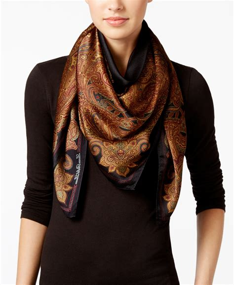 by ralph silk square scarf in black