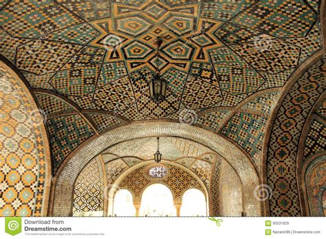 geometric pattern islamic architecture ceiling art in golestan palace tehran iran stock image