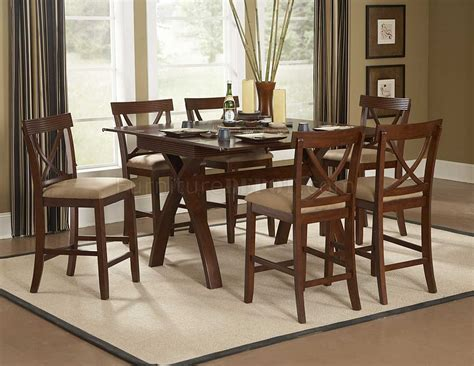 warm espresso modern counter height dining table w options