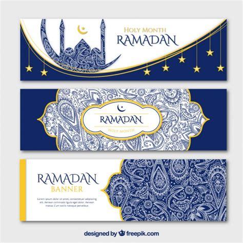 design banner ramadan blue ornamental ramadan banners with golden details vector
