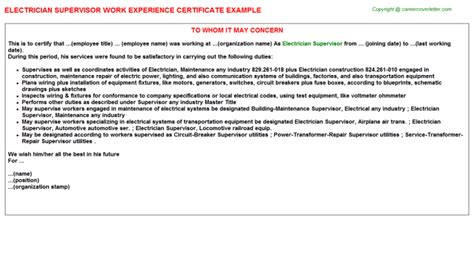 Work Experience Letter For Electrical Supervisor electrician supervisor work experience certificate