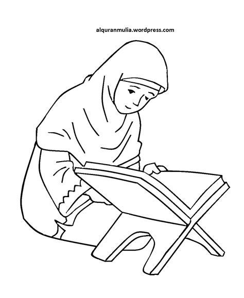 mewarnai gambar kartun anak muslimah 85 alqur anmulia