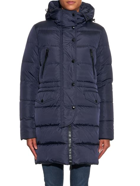 Quilted Fur Coat by Moncler Fragonette Quilted Fur Trim Coat In Blue Lyst