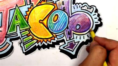draw graffiti letters write jacob  cool letters