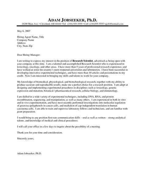 Cover Letter Science science cover letter exles the best letter sle