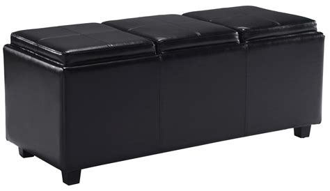 black leather storage ottoman with tray com simpli home avalon rectangular faux leather