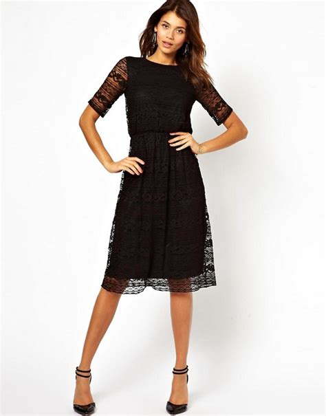Asos Lace Back Courts by Asos Asos Midi Dress In Lace With Wrap Back