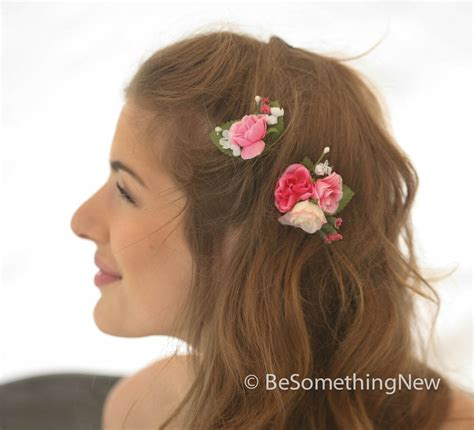 Vintage Bridesmaid Hair Accessories by Set Of Pink Flower Bobbie Pins Bridesmaids Flower Hair
