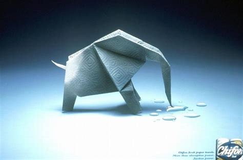 origami advertising origami chiffon paper towels print ad