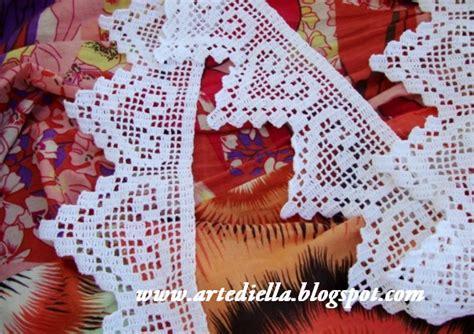 bordure uncinetto per mensole le fragole di stoffa bordura di cuori a filet uncinetto