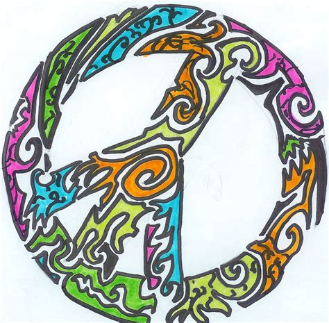 tribal peace sign tattoo by pantherflame on deviantart
