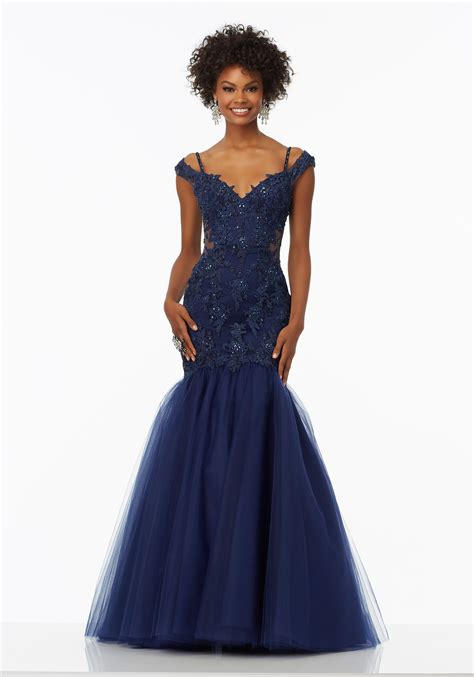 prom dress with lace the shoulder bodice style 99109