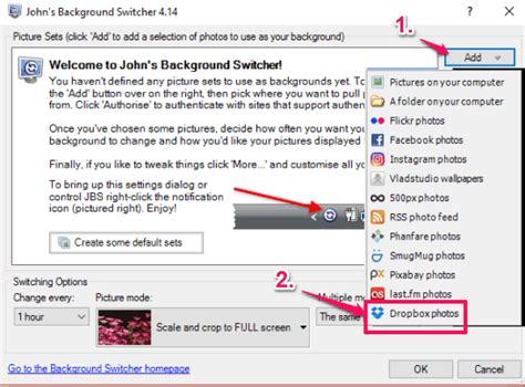 dropbox options how to show dropbox photos as desktop wallpaper in windows