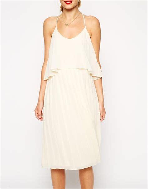 beige swing dress asos cami swing dress with pleated skirt in beige cream