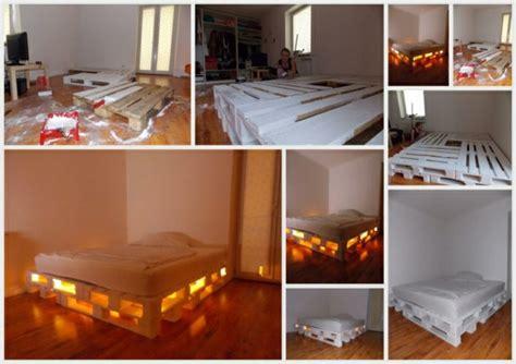 Bett Aus Paletten Beleuchtet by Europaletten Bett Ganz Einfach Selber Bauen Ausf 252 Hrliche