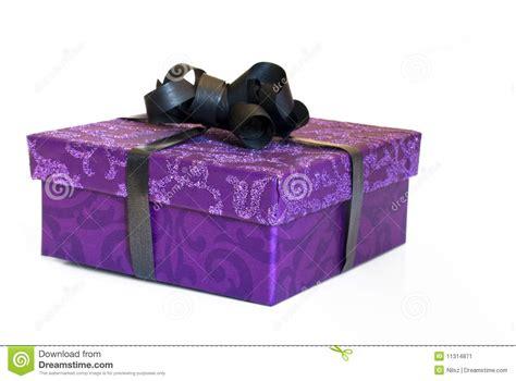Glitter Purple Present Box With Black Ribbon Stock Image   Image: 11314871