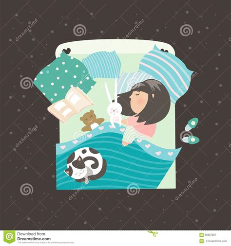 Paket Baby Bedding Sleep Cat baby in bed with cat vector